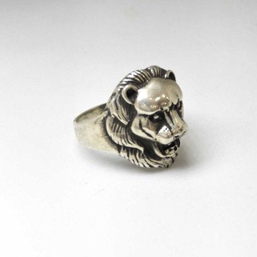 925 Sterling Silver Oxides Lion Gents Ring by