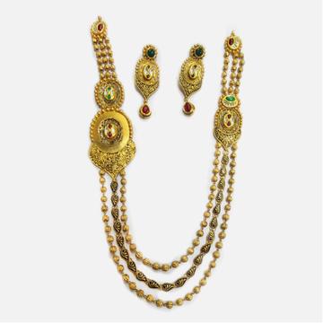 22KT Gold Antique 3 Layer Necklace Set RHJ-4015