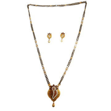One gram gold forming two line mangalsutra mga - mse0117