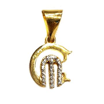 22k Gold CZ Diamond CM Monogram later Pendant MGA - MGP015