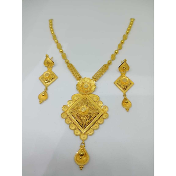 22kt yellow gold light weight necklace set bj-n018