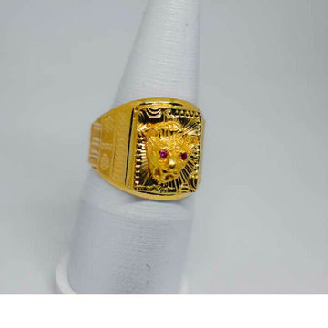 Gents Desinger Ring Lion With Red Eyes