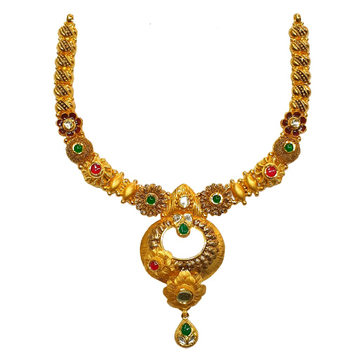 22K Gold Antique Designer Necklace MGA - GN0094