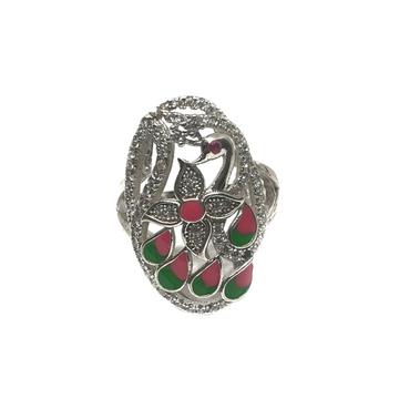 925 Sterling Silver Peacock Shaped Meenakari Ring...