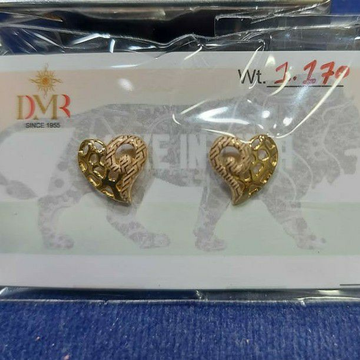 18ct fancy plain heart laser earrings