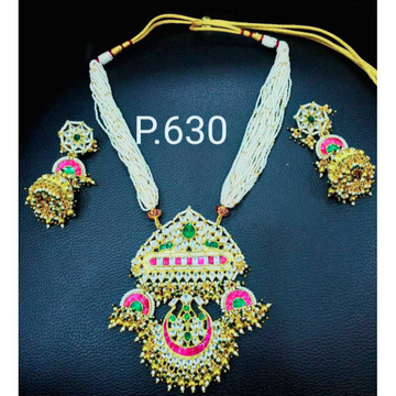 Colourful pachi kundan necklace set1076
