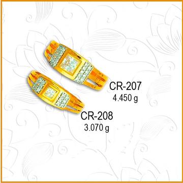 916 CZ Gold Square Shape Couple Ring CR-207