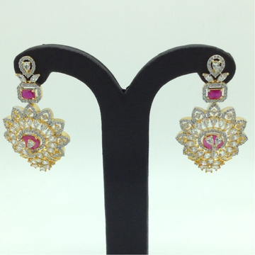 White and RedCZ Stones Ear HangingsJER0051