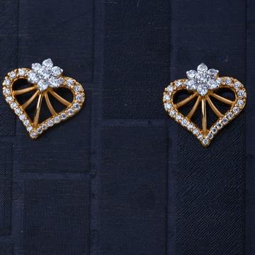 916  CZ gold Heart Flower Design Earring