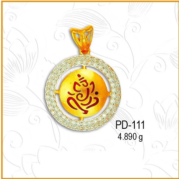 916 CZ Gold Ganeshji Religious Fancy Pendant PD-111