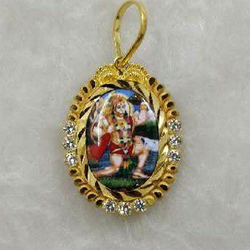 916 Gold Hanumanji Photo Pendant