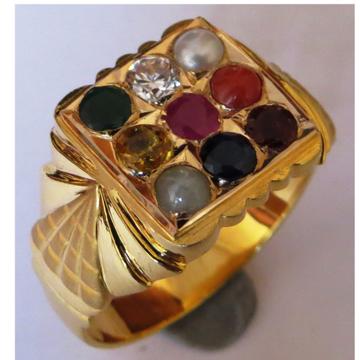 22KT Gold close setting navrathan 9 Gemstone Gents ring nr-003