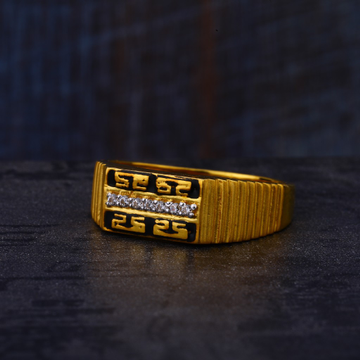 916 Gold Cz Mens Classic Ring MR535