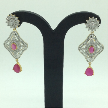 White and Red CZ Stones Ear Hangings JER0070