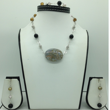 Freshwater BrownPearls and Black Semi Silver ChainSet JNC0081