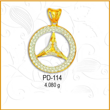 916 Gold Fancy CZ Diamond Pendant PD-114