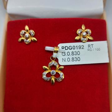 22Kt CZ fancy Pendant Set by Parshwa Jewellers