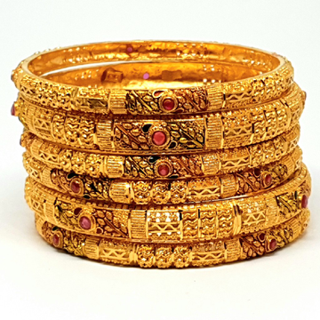 One gram gold forming kada bangles mga - bge0136