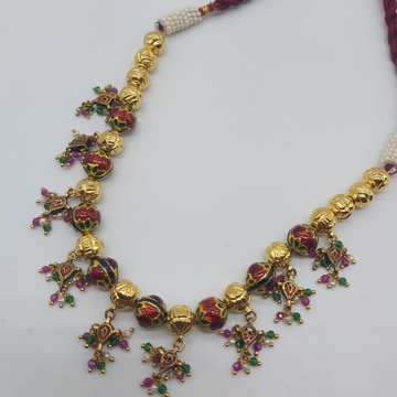 Indian traditional gold necklace set in jadtar by