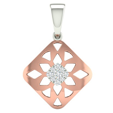 18k rose gold white gold real diamond square shape pendant mga - rp0033