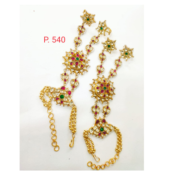 Wedding gold plated sunflower design with green & Pink stone hath panja 1404