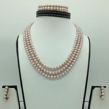 Freshwater PinkRound 3Lines PearlsFull Set JPP1...