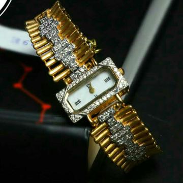Cz Gold Designer Womens Watch 916