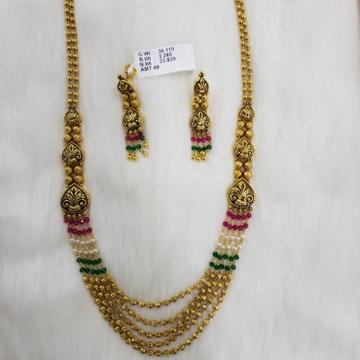 22KT Gold Decorative Long set With Moti  Manek panna