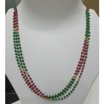 18k gold colourful beaded chain by