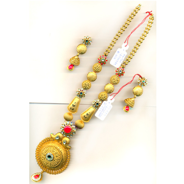 22KT Gold Colorful Flower Design Long Necklace Set-24