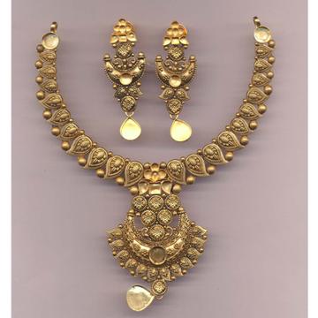 22KT Gold Mango Design Khokha Necklace Set PJ-N006