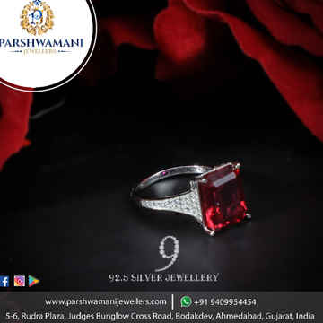 92.5 Sterling Silver Red Russian Big Stone cz Ring for Women