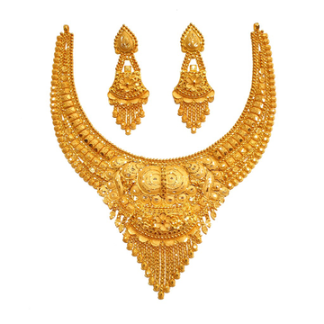 22K Gold Kalkatti Necklace Set With Earrings MGA - GN0093