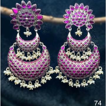 925 pure silver designer hanging chandbali studded...
