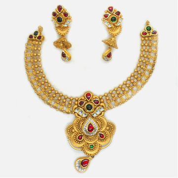 916 Gold Antique Bridal Necklace Set RHJ-6028
