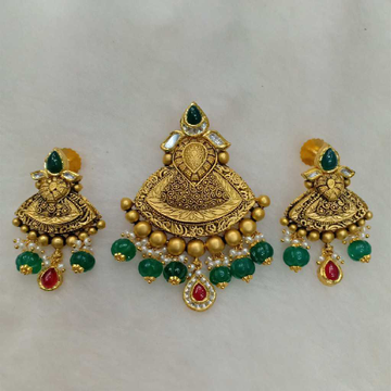 91.6 Gold Antique Pendant Set Aps-001
