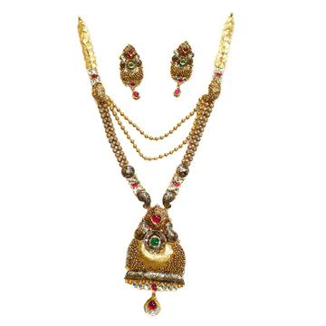 22k Gold Antique Oxidised Designer Necklace Set MGA - GLS070