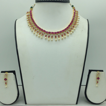 Red,White CZ Stones Necklace Set JNC0174