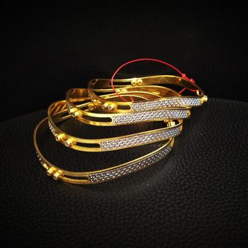 22k Hallmark Gold Rhodium Polish Bangle by Pratima Jewellers