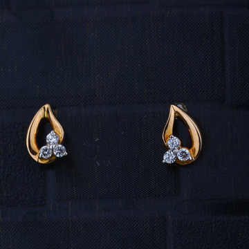 916 CZ Gold Leave design Earring