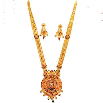 22k gold rajwadi long Necklace Set mga - gls011
