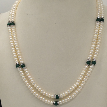 Freshwater White Flat Pearls 2 Layers Necklace With CZ White Chakri And Green Semi Beeds JPM0343