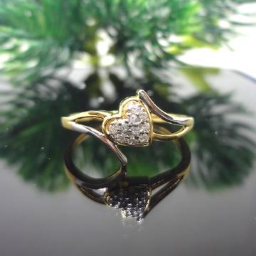 916 gold cz diamond heart ladies ring