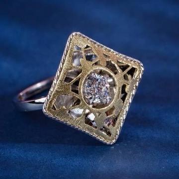 916 Gold Spra Dull Ladies Ring RH-SLR049