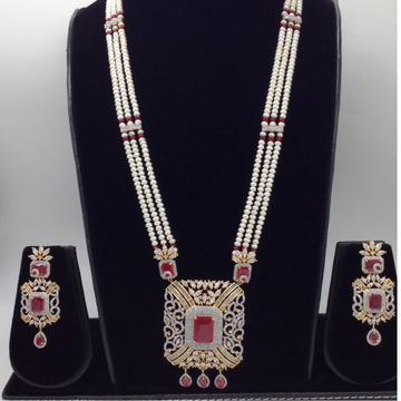 White and red cz rani haar set with 3 lines flat pearls mala jps0442