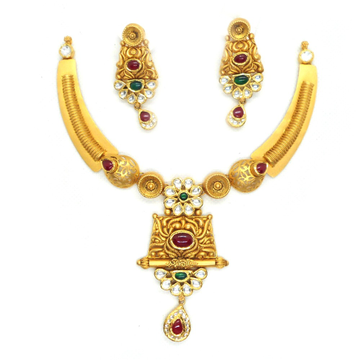 916 Gold Antique Bridal Necklace Set RHJ-4438