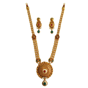 22k Gold Antique Round Shaped Necklace Set MGA - GLS078