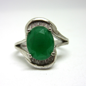 Silver green oval shape ring sr925-77