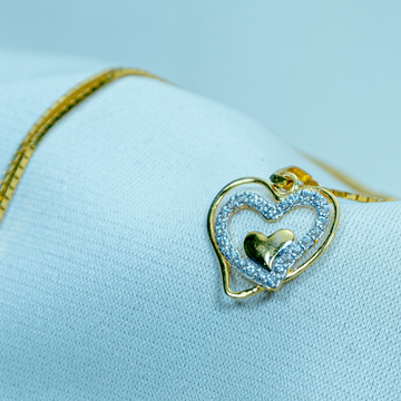 916 Gold Double Heart pendant P18-581 by