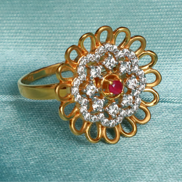 916 Gold Fancy Flower Design ring PJ-R020
